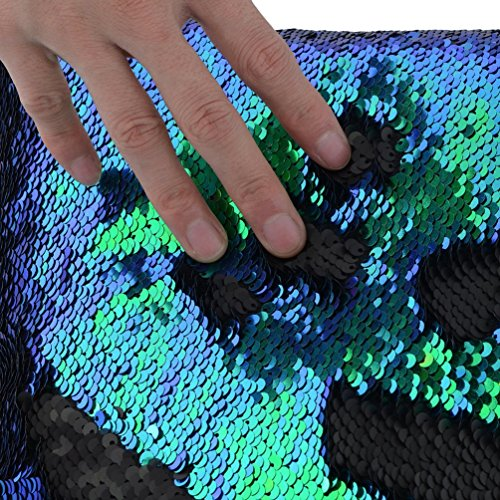 TRLYC 1 Yard Green and Black Double Color Reversible Sequin Fabric for Wedding Dress,Reversible Sequin Table Linens