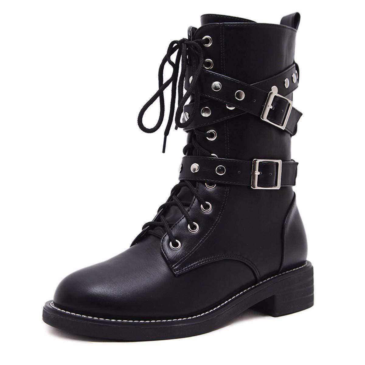 LBTSQ-Mode Damenschuhe Runden Kopf Chelsea - Stiefel Mit Hohen cm Flach Unten Kurzes Röhrchen Nieten Gut Aussehend Dicke Hintern Mode - Stiefel.