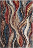 (US) Safavieh Gypsy Shag Collection GYP523C Rust and Blue Area Rug (4' x 6')