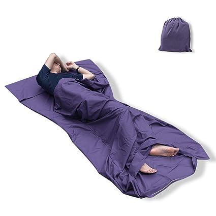 Qomolo - Saco de dormir, sábana de viaje para acampada, suave saco de dormir