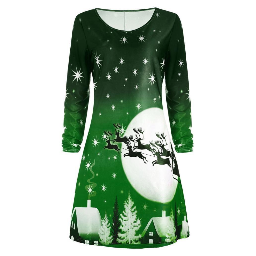 Gotd Women Christmas Print Long Sleeve Tunic Dress Plus Size Ladies Evening Party Dress (2XL, Green)