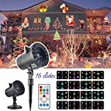 LED Projector Light, KINIVA Christmas New 2017 Version Bright Led Landscape Spotlight with 16 Slides Dynamic Lighting Landscape Show with Remote for Halloween, Party, Holiday Decoration