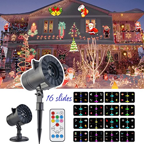 LED Projector Light, KINIVA Christmas New 2017 Version Bright Led Landscape Spotlight with 16 Slides Dynamic Lighting Landscape Show with Remote for Halloween, Party, Holiday (Tv Halloween Shows 2017)