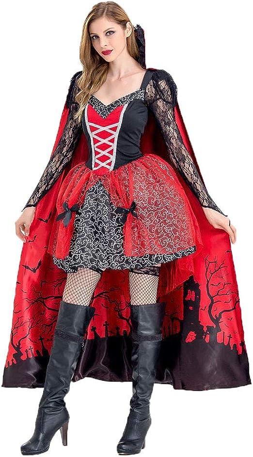 CAGYMJ Dress Party Mujer Vestido Cosplay,Sexy Rojo Vampiro Bruja ...
