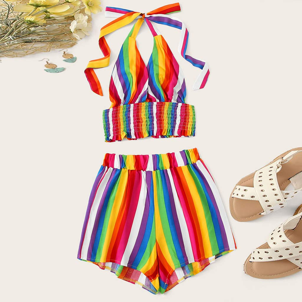 DICPOLIA Womens Rainbow Stripe Top Shorts Two-Piece Outfit Polyester XL-4XL