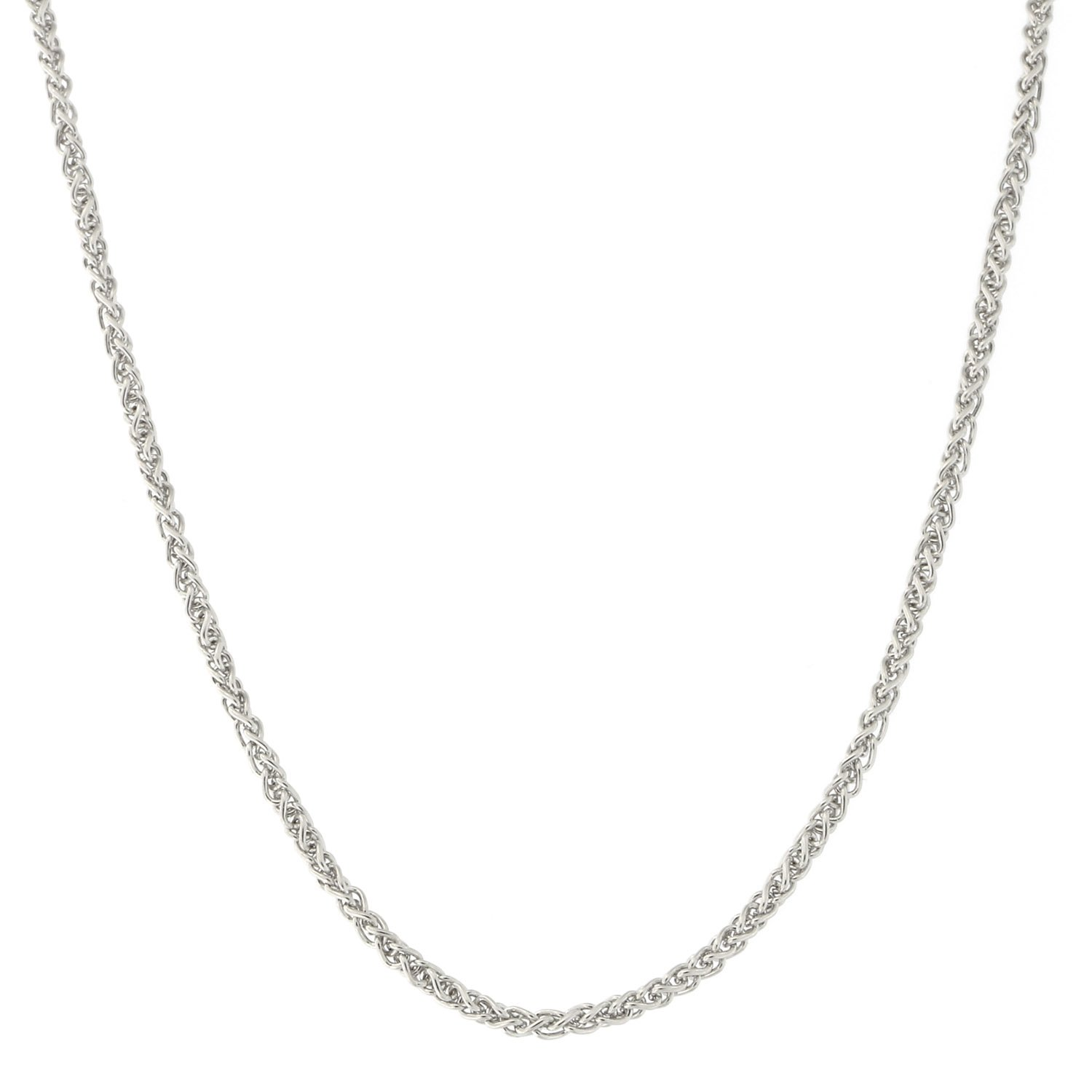 18k White Gold 1.4mm Round Wheat Chain Necklace, 18''