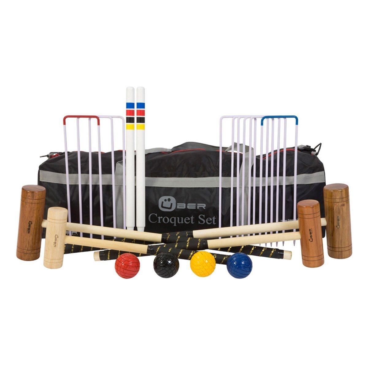 Hochwertiges Einsteiger Family Croquet / Krocket Set mit Nylontasche (4 Spieler)
