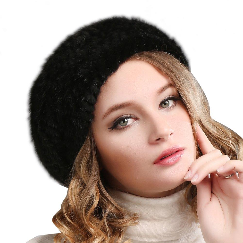 FURTALK 100% natural mink fur hat women winter fur hats mink fur beret for  women a0e1f768ac67