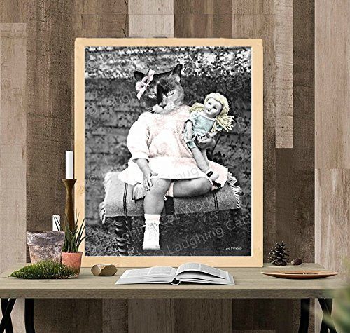 Funny Cat Print, Cat meme, Anthropomorphic picture, Whimsical Vintage Victorian Antique Hipster Kitsch Surreal wall art Altered Cat Photo Weird Dorm Decor, Creepy Doll print
