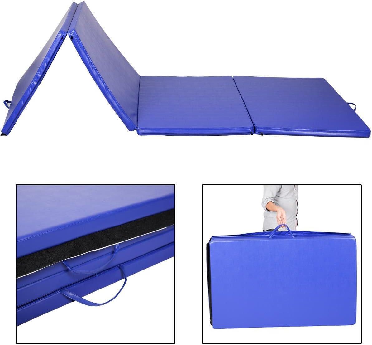 ヨガマット折りたたみ体操ジムExercise Stretchingブルー(4 ' x10 ' x2