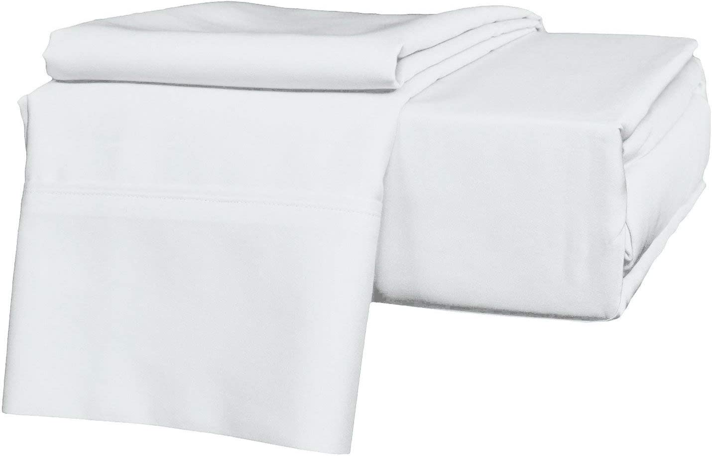 """Fabricom-Retail Hotel Bedding's 800-Thread Count 100% Egyptian Cotton Sheets Set 4-Piece - 16"""" Inch Deep Pocket Sheets & Pillowcases Set Soft Sateen Weave Combed Cotton (60X80 Queen Size, White)"""