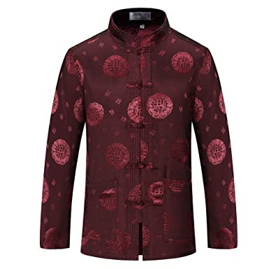 acbb0014d Amazon.com: Tang Suit Men Traditional Chinese Clothing Suits Hanfu Cotton  Long Sleeved Shirt Coat Mens Tops: Clothing