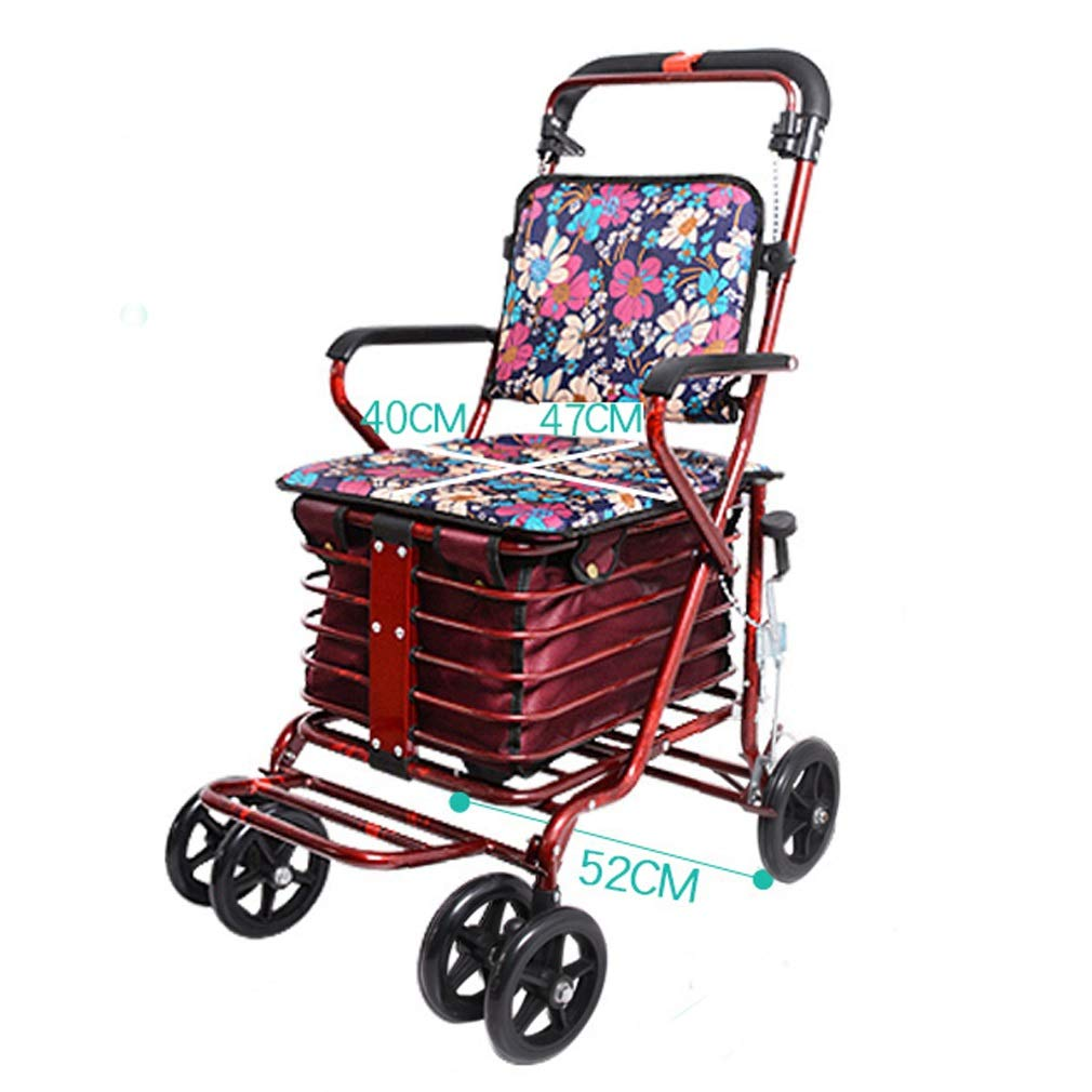 Rollator Walker with Seat Youth,with Fold Up Removable Back Support with Seat and Lower Basket Lockable Brake Auxiliary Walking Safety Walker (Color : Red)
