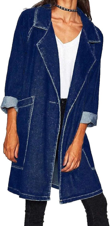 Womens Denim Jean Windproof Mid Long Boyfriend Casual Trench Coat