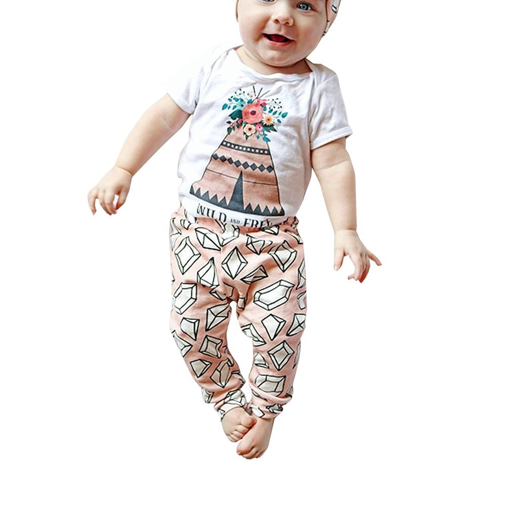 Doinshop Baby Outfits, Baby Girls Floral Top Shirt + Lovely Printed Pants