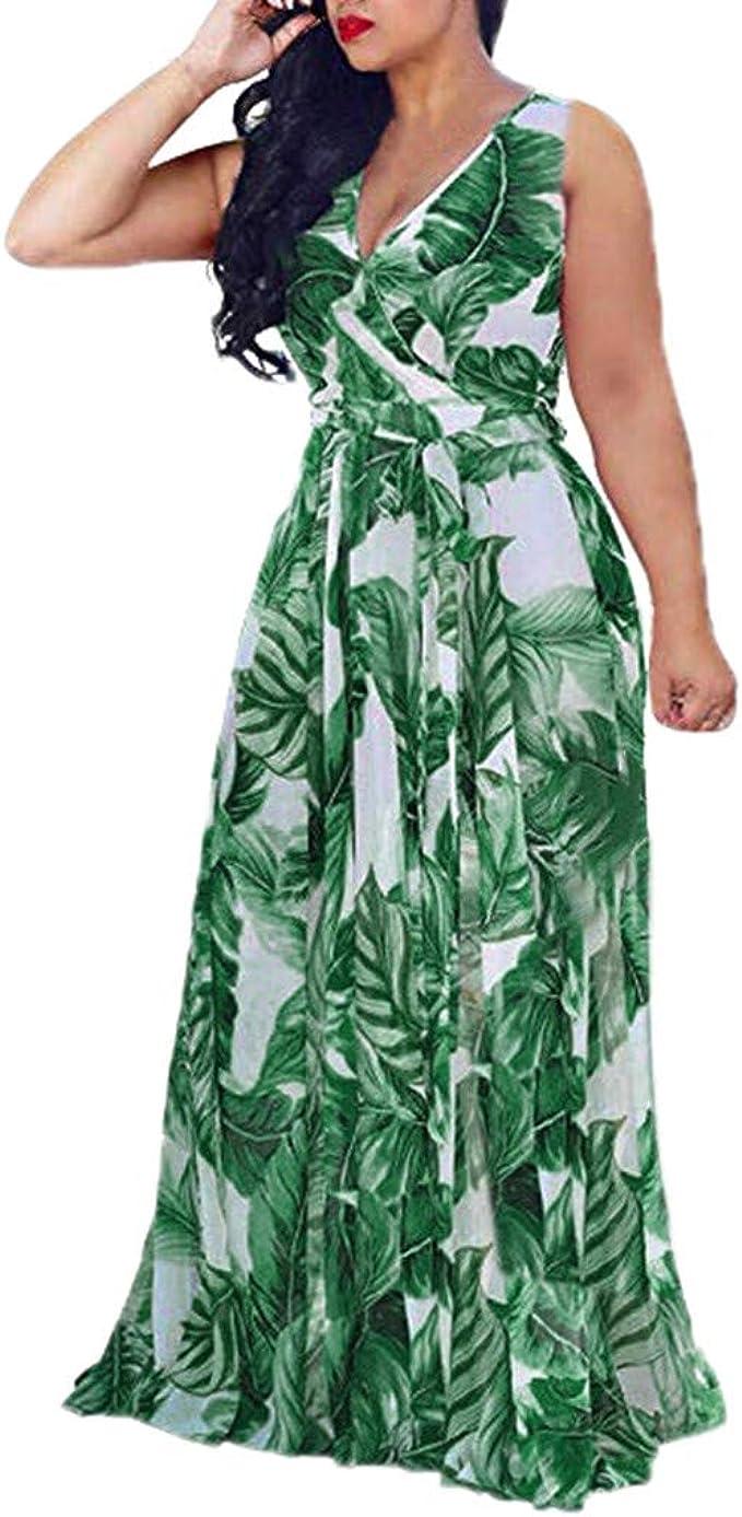 Summer Womens Bohemian Beach Dress Ladies V Neck Floral Maxi Dress Plus Size