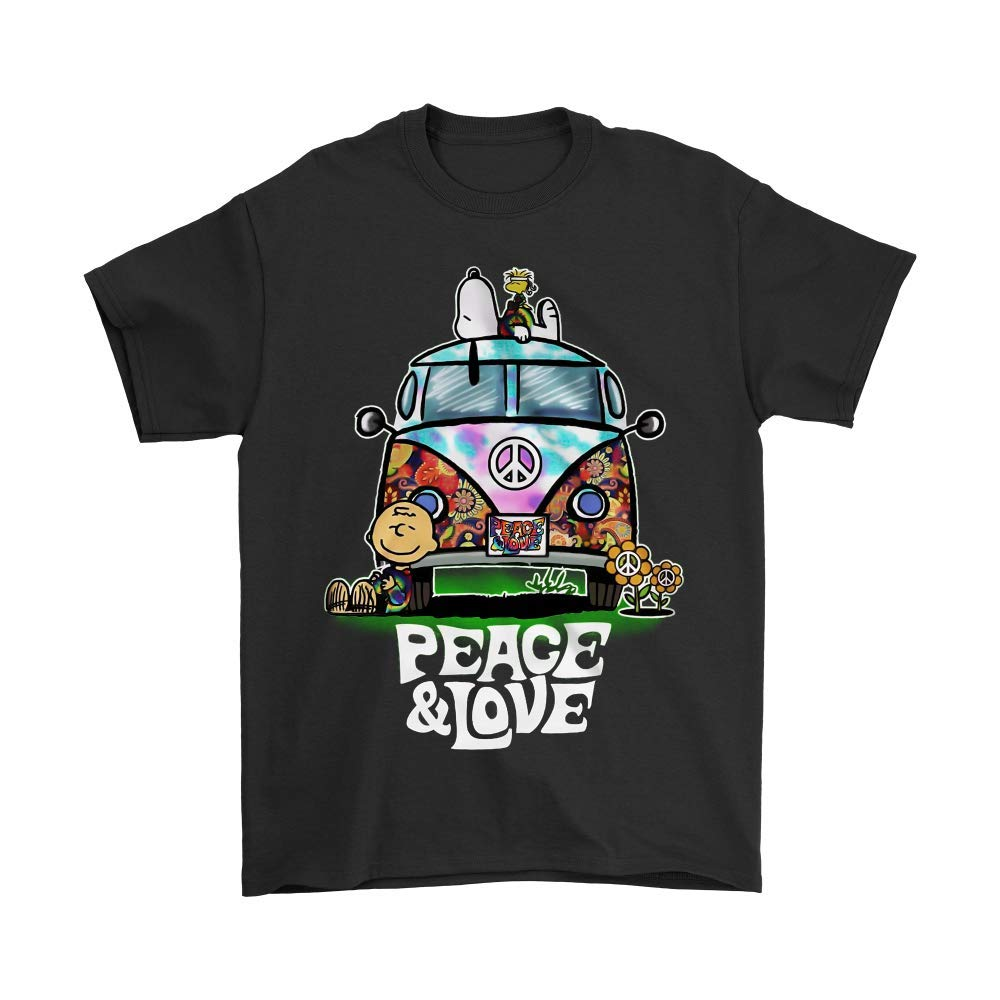 Peace and Love Hippie Style Snoopy Shirts_Black_XXL