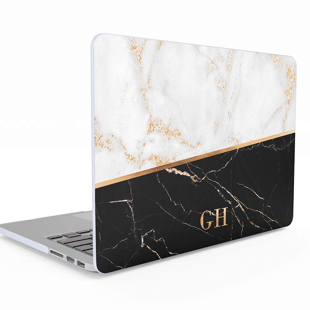 A1932 with Retina Display and Touch ID Hard Case Cover Funda Personalizada Rosa Marmol Gold Pink Marble Initials Name Letters Customizable Personal Macbook Air 13 Pulgadas Release 2018-2019 Modelo