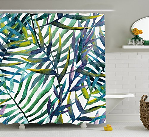 Tropical Island Decor (Leaf Shower Curtain by Ambesonne, Watercolor Artwork of Tropical Island Vegetation Colorful Palm Leaves, Fabric Bathroom Decor Set with Hooks, 75 Inches Long, Purple Blue and Light Green)