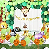 2020 New Jungle Safari Theme Party Decorations 174pcs:148 latex balloons,12 Green Palm Leaves, 1 banner 4 cake topper 16 feets Arch Balloon strip tape, 1 Balloon tying tools Safri party Supplies and Favors for Kids Boys Birthday Baby Shower Decor