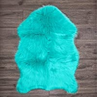 Clara Clark Faux Fur Sheepskin Rug - Couch Stool Vanity Seat Cover - Bedroom, Kids Rooms, Living Room Floor Australian Rug - 24x36 Inches - Teal
