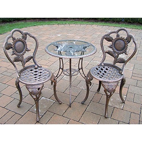 Oakland Living 5208-AB Easy to Assemble Stainless Steel or Brass Assembly Hardware Sunflower 3-piece Patio Bistro Set