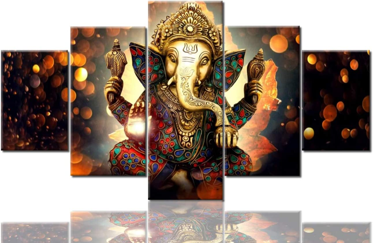 TUMOVO Lord Ganesha Canvas Paintings Wall Decor Ganesha Pictures for Living Room Deity Festival Giclee 5 Piece Hindu God Artwork Home Decorations Posters and Prints Framed Ready to Hang(60''Wx32''H)