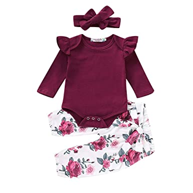 8115d76076f6 3PCS Infant Toddler Baby Girl Clothes Ruffle Romper Top Long Sleeve  Bodysuit + Floral Pants +