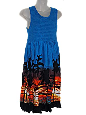 40e091d9b3a Image Unavailable. Image not available for. Color  Hawaiian Beach Sunset  Palm Trees Summer Dress Luau Sundress (M-XL See Measurements