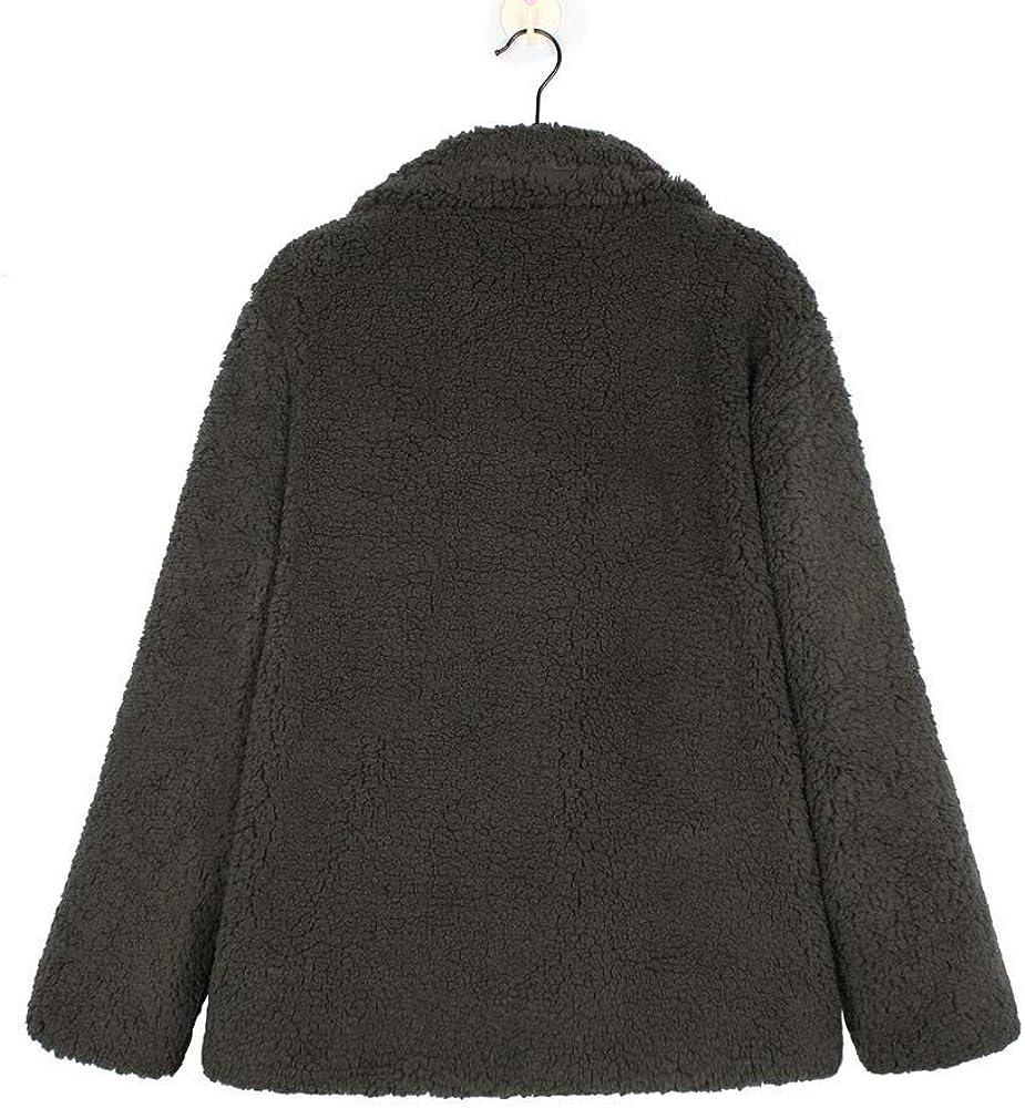 TianWlio Womens Fuzzy Overcoat with Pocket Lapel Button Jacket Outwear Winter Warm Parka Coat Outercoat Windbreaker