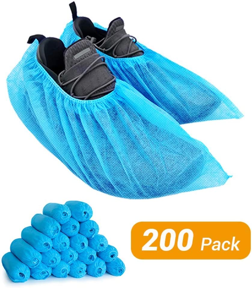 200 Pack Shoe Cover Boot Covers, Lyncmed Disposable Shoe Cover Booties for Indoors, Hospital & Construction, Non-slip Reusable & Water Resistant(Large, Fit Most People)