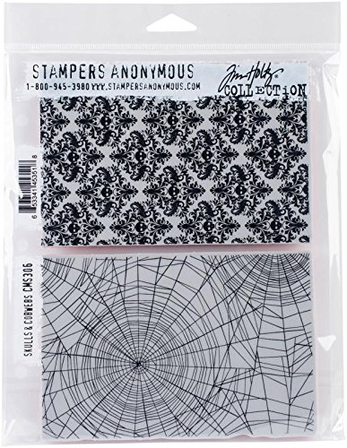Stampers Anonymous CMS306 Tim Holtz Cling Stamps 7X8.5-Skulls & Cobwebs
