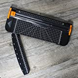 Paper Cutter - 12 Inch A4 Titanium Paper Trimmers with Automatic Security Safeguard Guillotine Slide Ruler Design for Greeting Cards Coupon Craft Paper Label or Photo (Black)