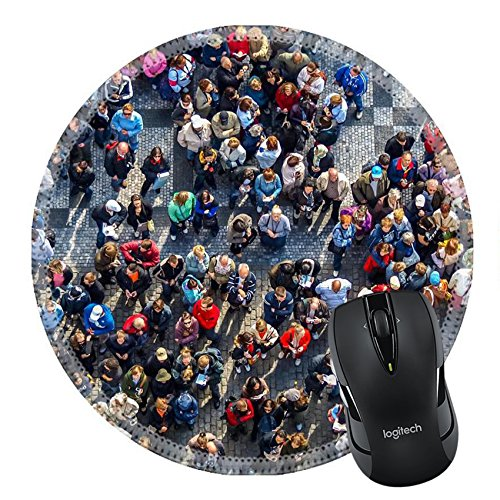 MSD Natural Rubber Mousepad Round Mouse Pad/Mat: 32875320 crowded square in prag under orloj - Square Grey Pr