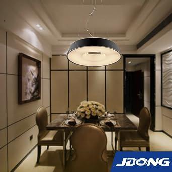 JDONG Futuristische LED Hngeleuchte Pendelleuchte 18W Runde Modern Mattschwarz Deckenleuchte Deckenlampe Wohnzimmer Kche Schlafzimmer Schwarz