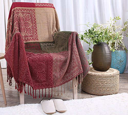 ChezMax Big Red Flower Pattern Chenille Woven Couch Throw Blanket Mediterranean Style Bedroom Decor Beach Blanket with Decorative Tassels Green 59