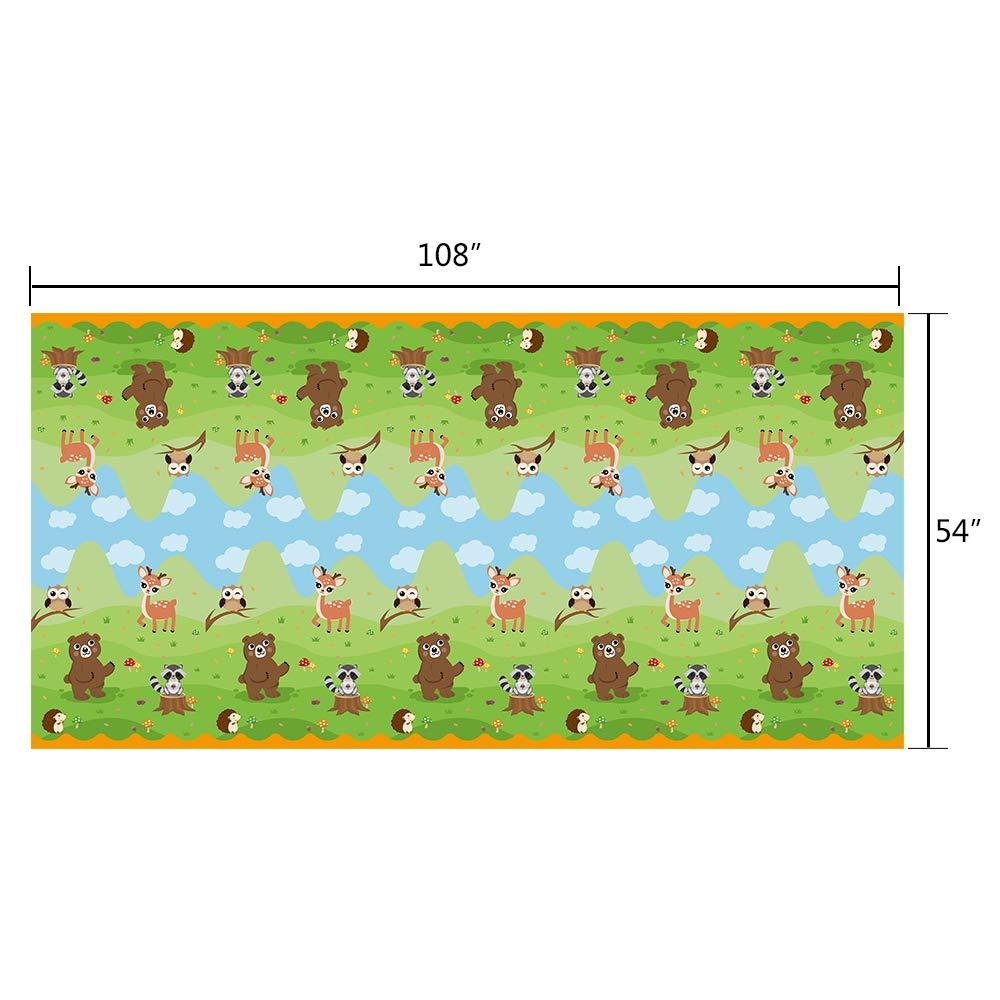 WERNNSAI Nappe Animaux des Bois 274 x 137 cm Couvertures de Table Jetable Hiboux Renard Cerf Ours Animaux Sauvages Articles de f/ête pour Enfants Anniversaire Baby Shower
