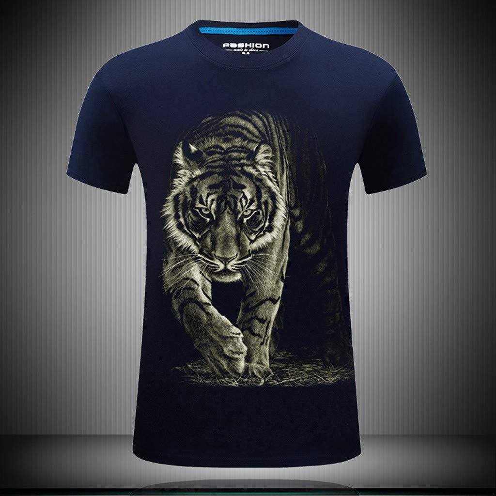 100/% Cotton Mens Printed Casual Short Large Size Round Neck T-Shirt New Summer Tops