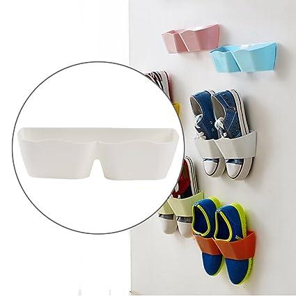 Accesorio de zapatos de pared, 4 piezas creativo plástico montado en la pared estante de almacenamiento ...