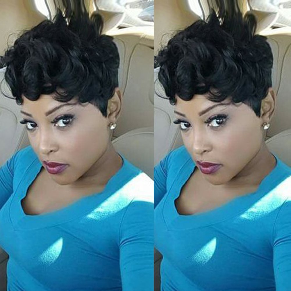 HOTKIS Women's Human Hair Short Curly Wigs Black Short Pixie Cut Wigs Natural Real Hair Short Curly Bob Wigs for African Americans (SW8005) by HOTKIS