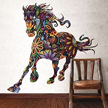 My Wonderful Walls Removable And Peel And Stick Colorful Floral Horse Wall  Sticker Decal, Multicolored Part 11