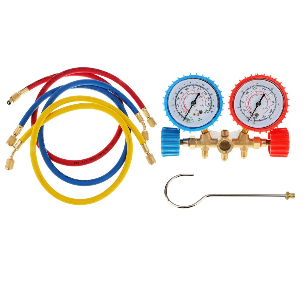 A/C AC Diagnostic Manifold Gauge Set for R22 R12 R134-A R502 R410A R502 Refrigerants Current Divider Meter Tool 3 Way Brass Hose Auto Car Serivice Kit