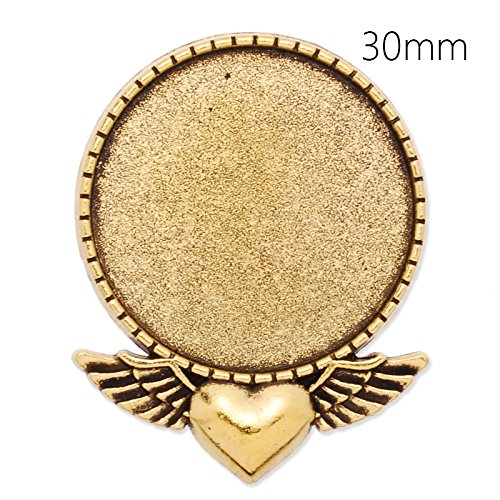 10pcs/lot Antique Gold Plated Heart Brooch Base with 30mm Round Blank Bezel-Safety Pin Fastening