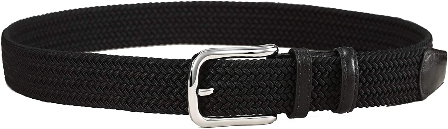 Mens Stretch Woven Braid Belt Canvas Elastic Fabric Multicolored Braided Belts
