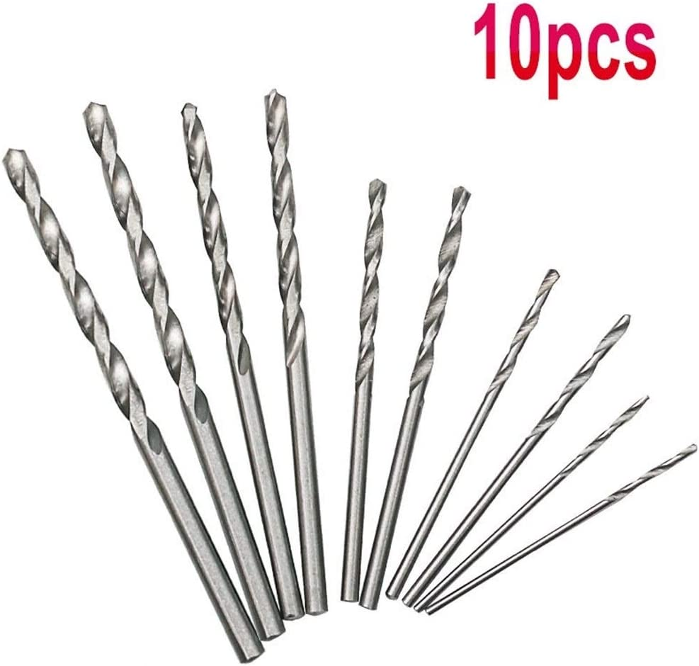 no logo Drill Bits 10pc Spiral Hand Drill Semi Automatic Pin Vise keyless Chuck Manual Drilling Hole Twist Drill Bits Set for Woodworking Tool Power Tool Accessories