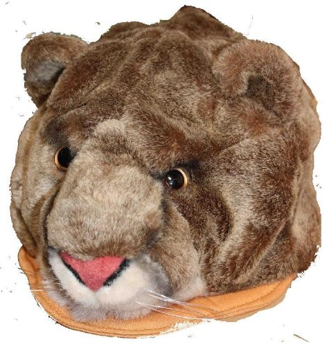 Cougar Furry Plush Animal Hat - One Size Fits All, Unisex