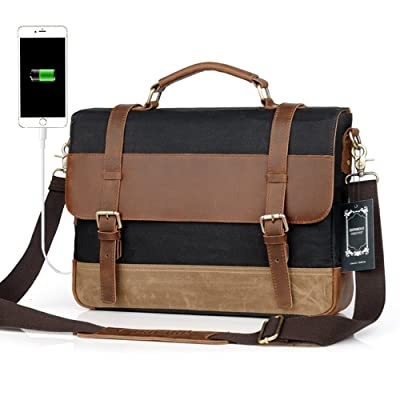 Men Messenger Laptop Bag Large Capacity Genuine Leather Canvas Waterproof Vintage Shoulder Bags vintage Satchel and Business Briefcase Perfect For 16 inch Computer By Sdiyabolo