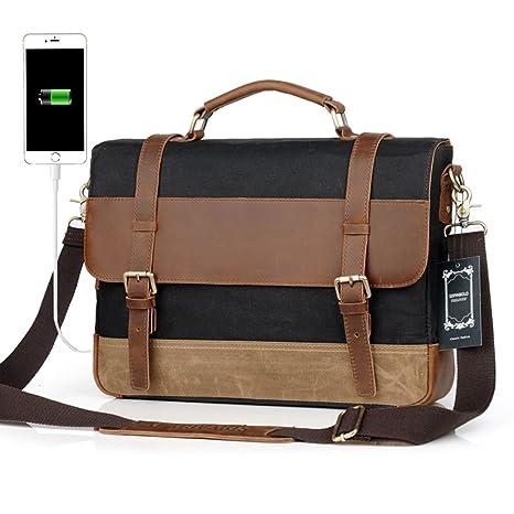 8fd4ca6f195 Men Messenger Laptop Bag Large Capacity Genuine Leather Canvas Waterproof Vintage  Shoulder Bags Vintage Satchel and