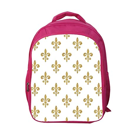 e4bee0e5a8cc iPrint School Bags Kid's Backpacks Custom,Fleur De Lis Decor,Vintage  Stylized European Lily