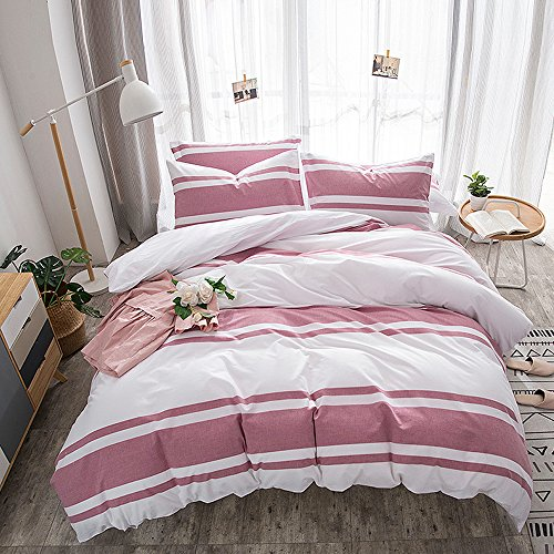 - Merryfeel Cotton Duvet Cover Set,100% Cotton Yarn Dyed Stripe Comforter Cover with 2 Pillowshams,3 Pieces Bedding Set - King